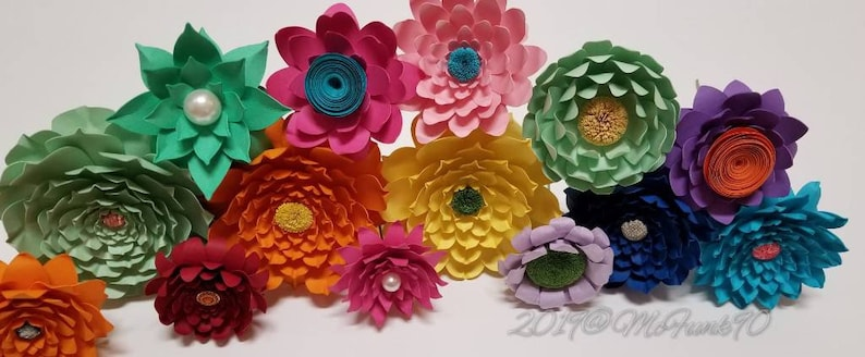 Whimsical Paper Flowers on Stems Princess Party Weddings Great for Bouquets Centerpiece Handmade Home Decor Baby Shower Classroom