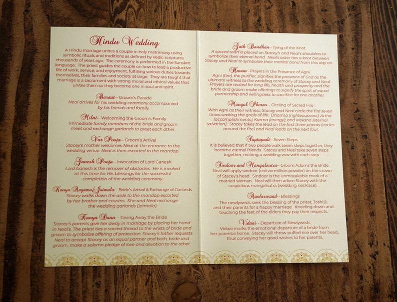 Baraat Ceremony Program Indian Wedding Ceremony Folded Program Hindu Wedding Bi-Fold Booklet Program Red and Gold India Wedding Program