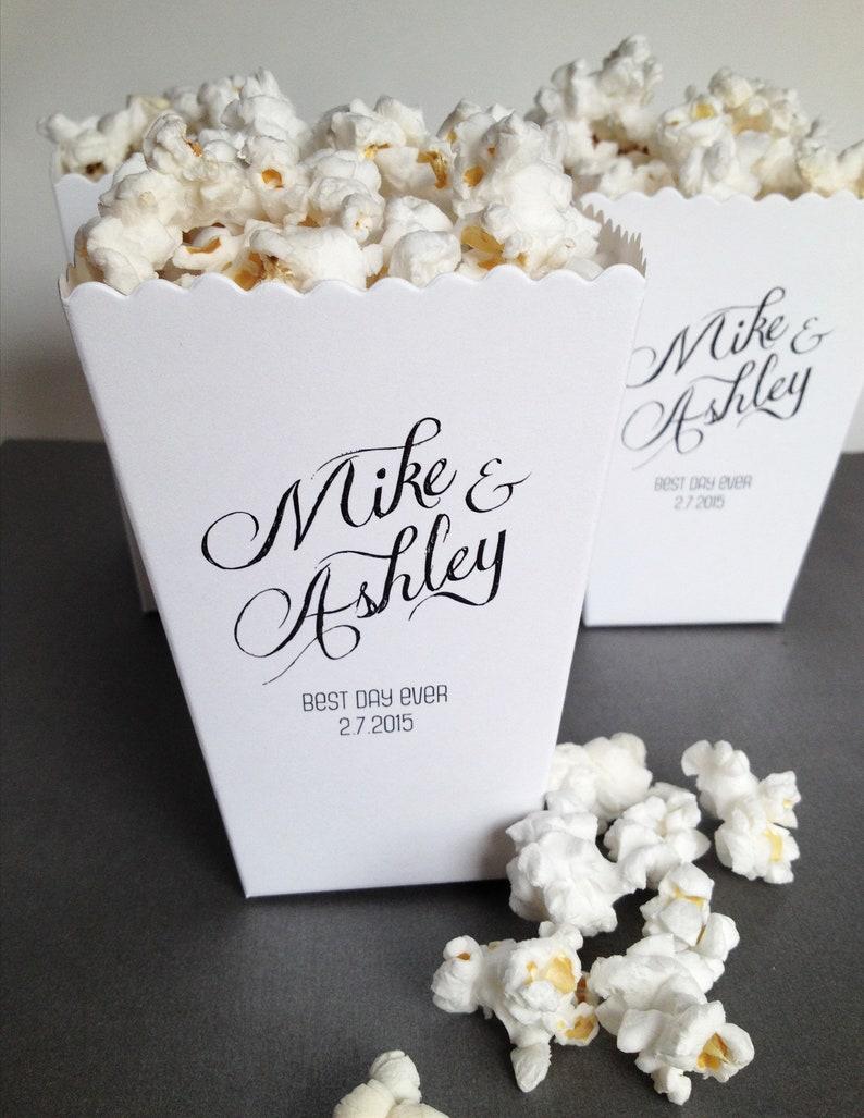 Mini Popcorn Box  Popcorn Wedding Personalized Favor Gift image 0