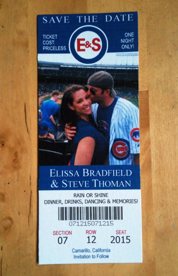 baseball football or hockey save the date tickets free etsy
