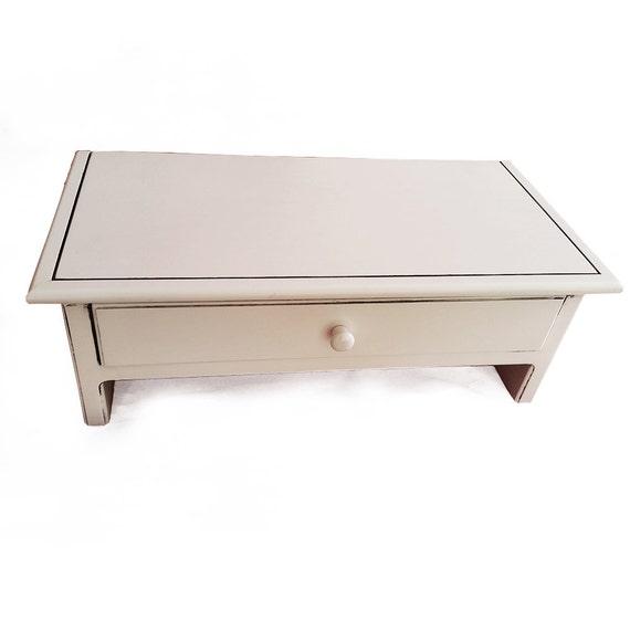 Medium White Wood Computer Monitor Stand And Desk Organizer Etsy