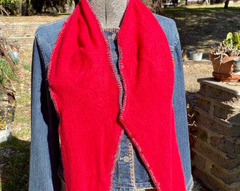 Red cashmere sweater scarf with buttons