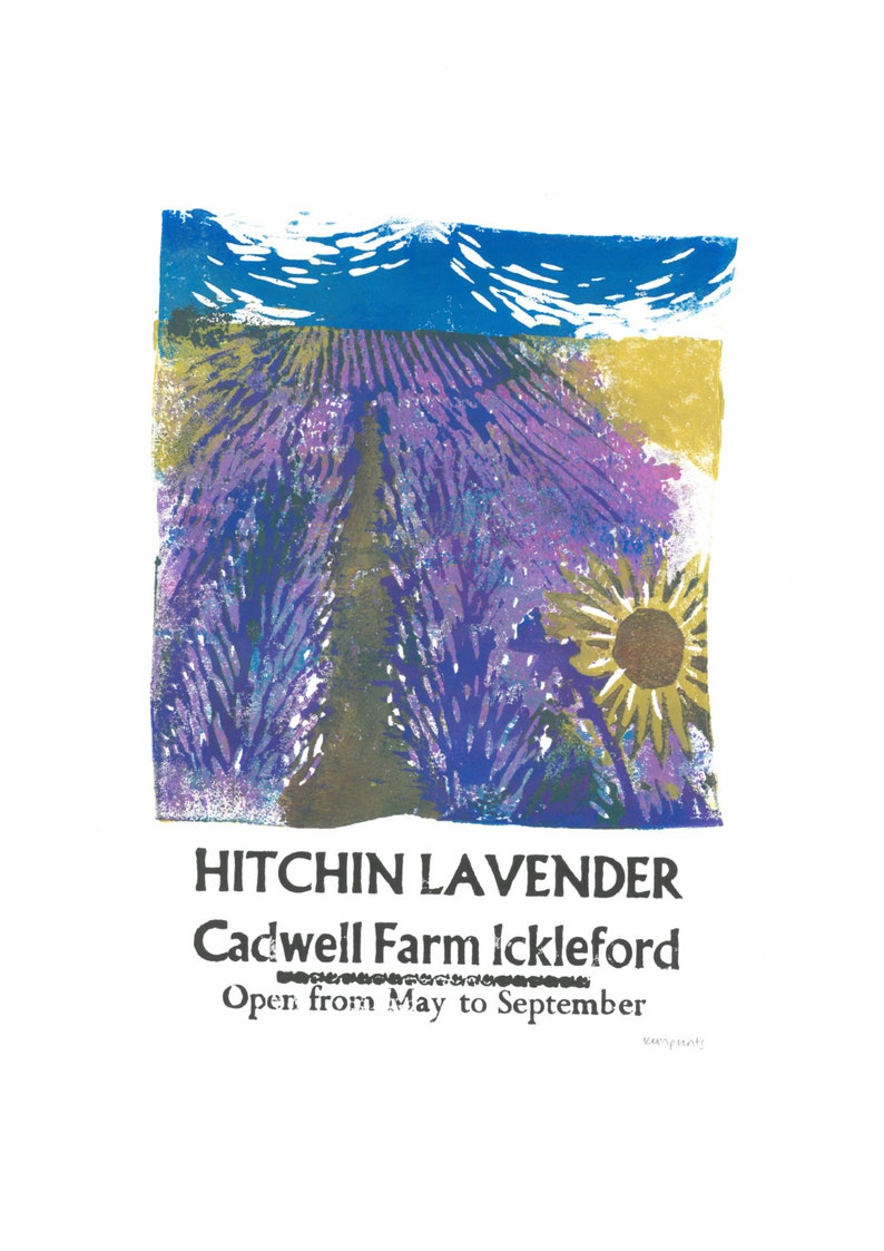 Hitchin Lavender Lino and Letterpress Print Poster image 0