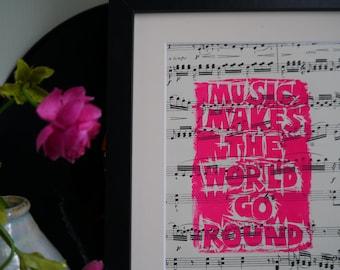 Rend le monde de la musique aller ronde lithographiée Original sur partition de musique Vintage