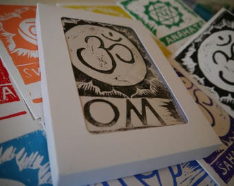Linocut Chakra Card Set - 8 Handprinted Cards Boxed