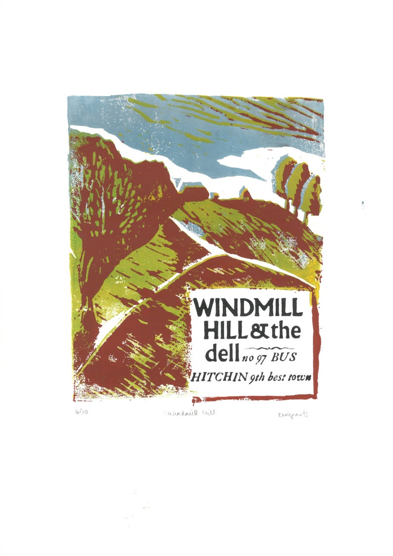 Windmill Hill in Summer Lino and Letterpress Print image 0