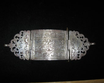 one of a kind vintage tribal Turkoman man's bazuband armband amulet jewelry from 1950's Afghanistan