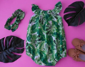 39666255309a Baby and toddler sunsuit romper in green banana and palm leaves with  matching top knot headband