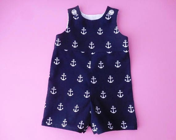 3120b972663 Jon romper for boys or girls navy blue with white anchors etsy jpg 570x454 Girls  navy
