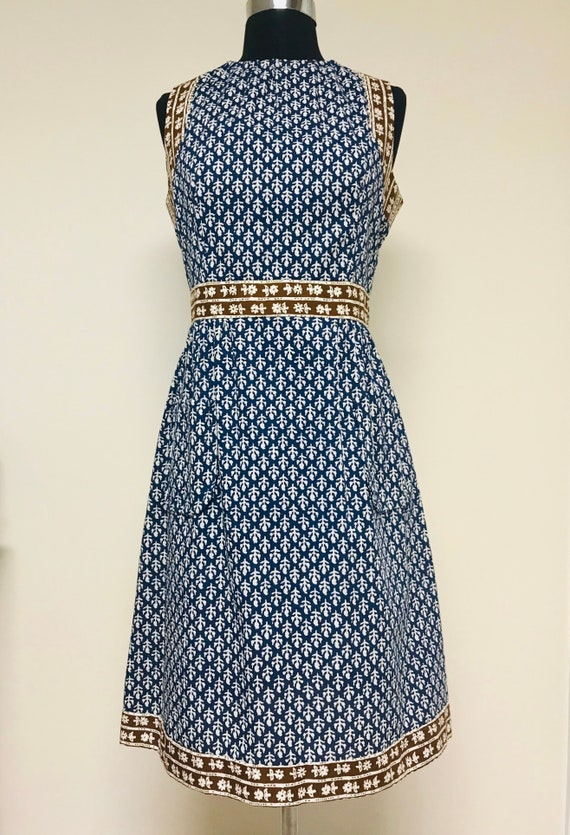 Vintage 1960s Provencal / Block Print Cotton Dress