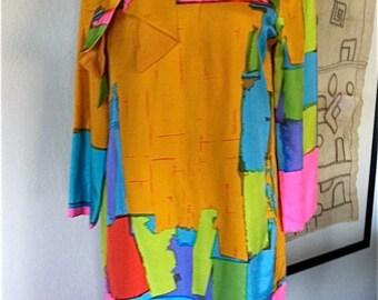 20% OFF SALE Vintage 1960s I Magnin Silk Abstract Dress