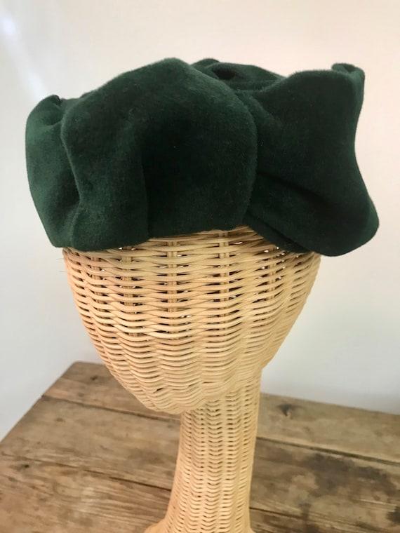 Vintage 1960s Borsalino Emerald Green Felt Pillbox