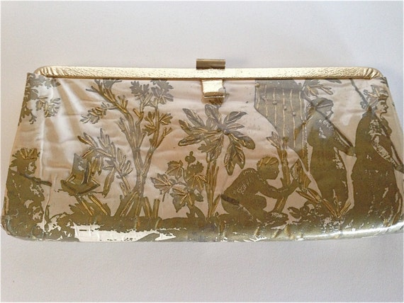 Vintage 1950s Metallic Gold Scenic Clutch With Emb