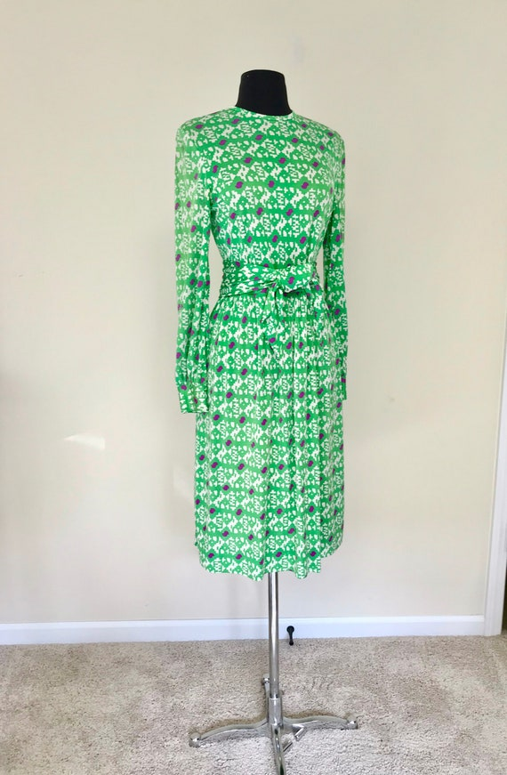 Vintage 1970s Abstract Print Jersey Dress