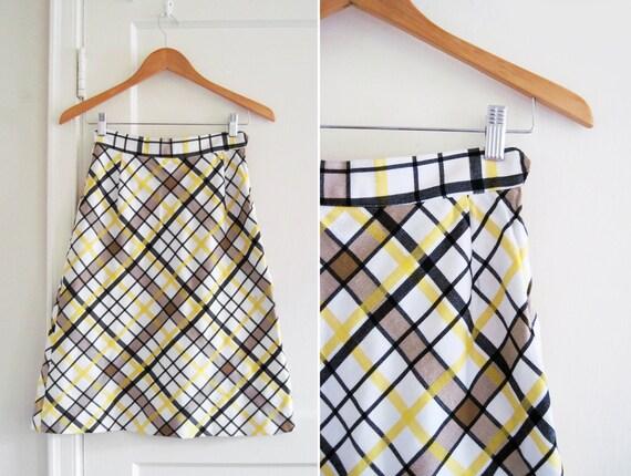 Vintage 1970s A-Line Mod Plaid Summer Skirt sz XS