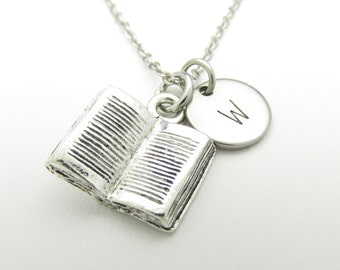 Book Necklace, Open Book Charm, Initial Necklace, Personalized, Stamped Initial Letter, Monogram Necklace, Bookworm Charm, Silver Book Y123