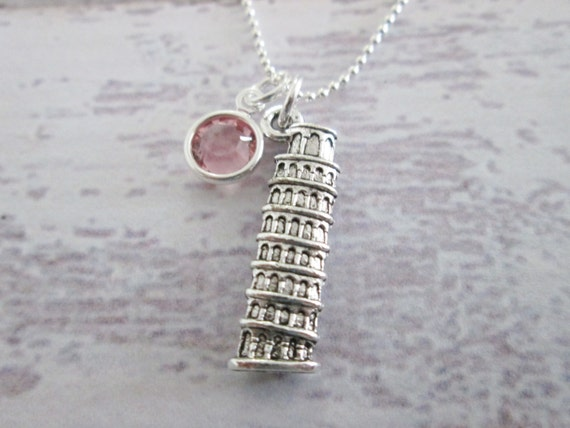 Silver Leaning Tower of Pisa Charm Necklace Bell Tower Italy Pendant Jewelry