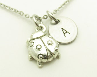 Ladybug Necklace, Lady bug Charm Necklace, Personalized, Initial Necklace, Stamped Initial Letter, Silver Lady Bug Necklace, Monogram Y240