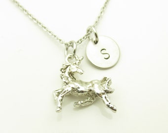 Unicorn Necklace, Unicorn Charm Necklace, Personalized Initial Necklace, Silver Unicorn, Stamped Initial Letter, Monogram Necklace Y272
