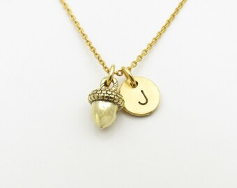 Acorn Necklace, Personalized, Initial Necklace, Antique Gold Acorn, Acorn Charm Necklace, Monogram Initial, Nature Charm Jewelry Z320