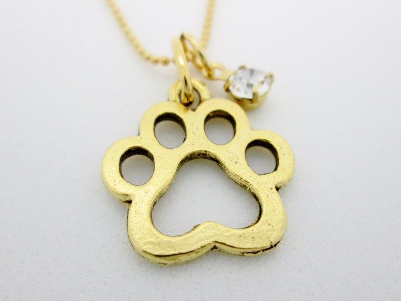 0a17967898fb6 Paw Print Necklace, Gold Dog Paw Print Charm, Pet Animals Themed Charm  Jewelry B058