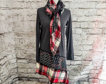 Red Plaid Tunic with Matching Wrap/Scarf Scarf