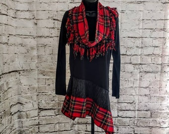 Tartan Red Plaid Tunic with Matching Fringed Inifinty Scarf