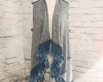 Grey Vest with Denim Fringe