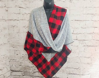 Red Buffalo Plaid Sweater Twisted Mobius Wrap