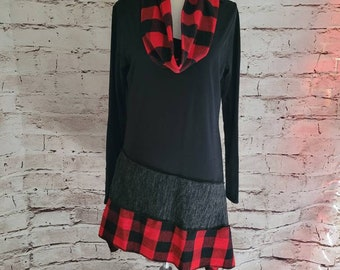 Red Buffalo Plaid Tunic with Matching Infinity Scarf