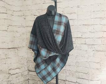 Blue, Black, & Brown Plaid Knit Twisted Mobius Wrap