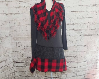 Red Buffalo Plaid Hoodie Tunic with Matching Fringed Infinity Scarf