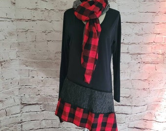 Buffalo Check Red Plaid Tunic with Matching Wrap/Scarf