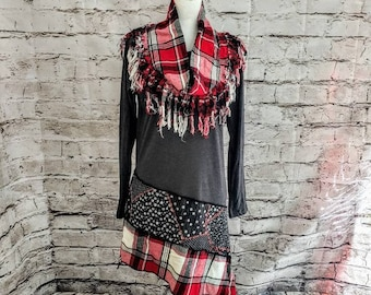 Red Plaid Tunic with Matching Fringed Inifinty Scarf