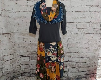 Floral 3/4 Sleeve Dress with Matching Fringed Infinity Scarf
