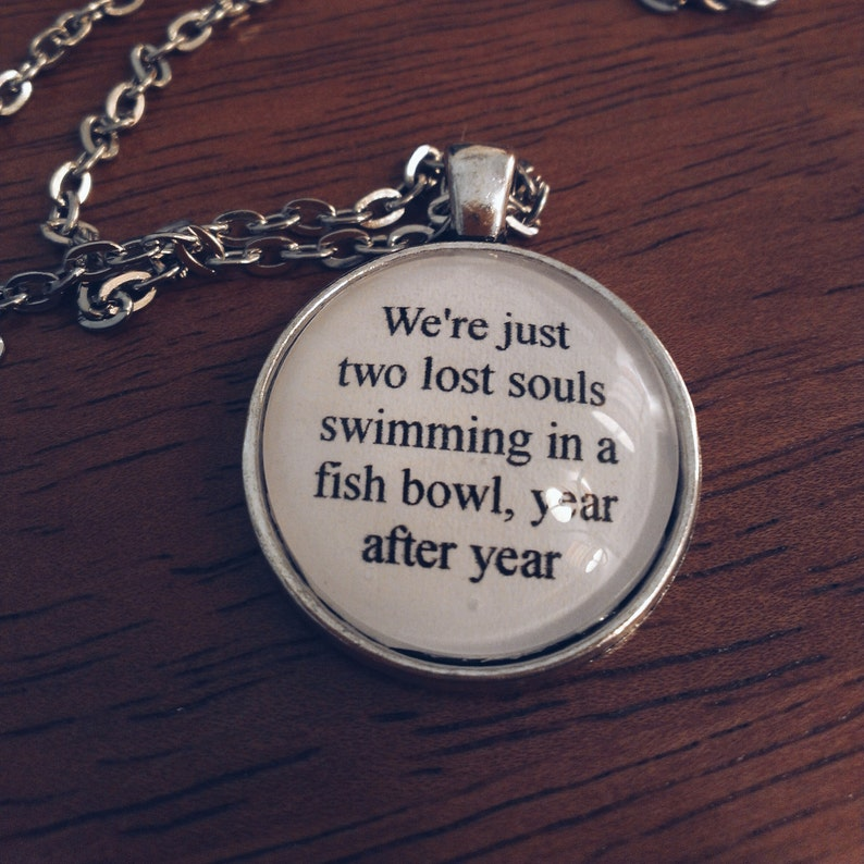 Wish you were here lyric necklace- pink floyd lyric quote necklace