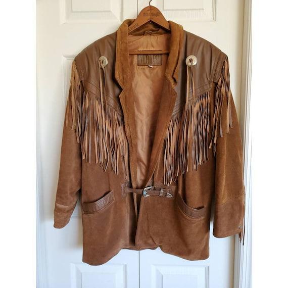 Vintage Whipp leather and suede fringe jacket- bro
