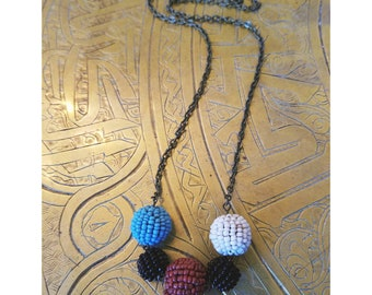 Beaded beads layering necklace- brown, aqua, black, and white