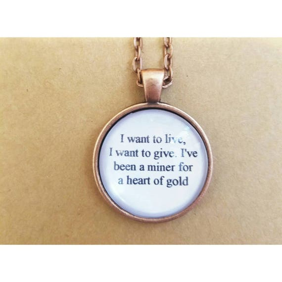 Heart Of Gold Lyric Quote Necklace Neil Young Lyric Quote Necklace