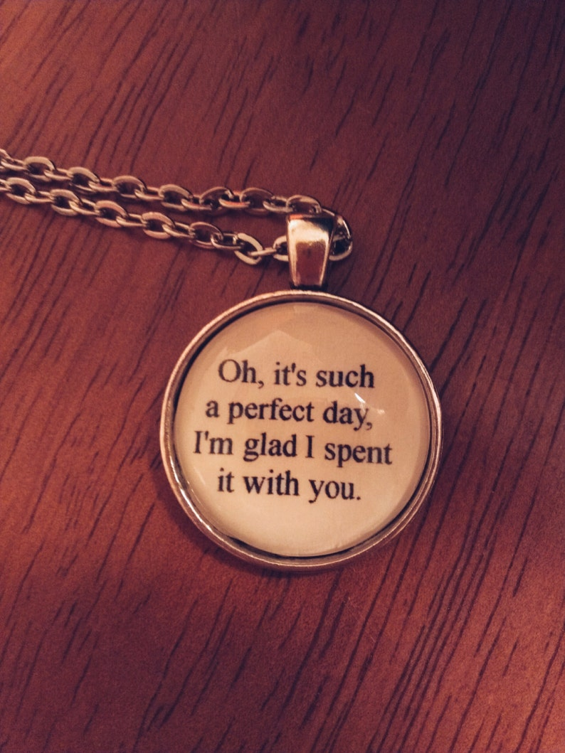 Lou Reed lyric quote necklace- Perfect Day lyric quote necklace