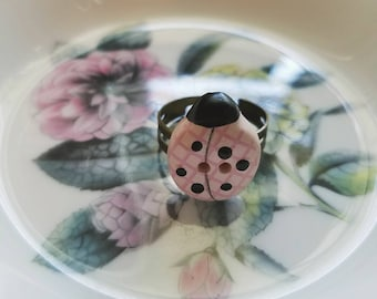 Vintage pink ladybug button ring- upcycled button ring
