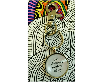 Parks and Rec Leslie Knope vivacious rainbow of joy quote keychain- customized keychain- best friend gift