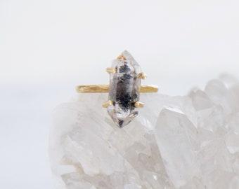 Black Phantom Quartz Crystal Point, Raw Brass Ring