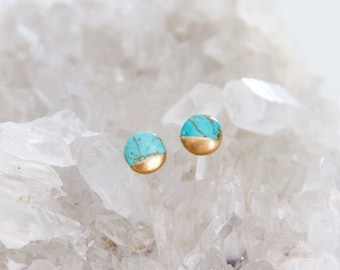 61a41dfe7 Turquoise, Hand Gilded, Tiny, Post Earrings, Round Studs
