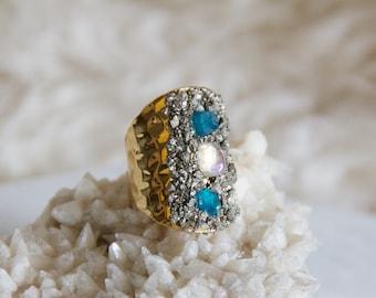 Pyrite Chip Cuff Ring -- Moonstone, Apatite