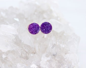 Druzy Earrings, Purple Druzy, Gold Stud Earrings