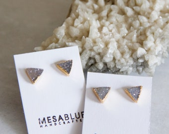 Druzy Earrings, Triangle Druzy, Gold Stud Earrings