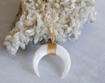 Long Shell Crescent Necklace