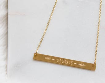 Be Brave Stamped Bar Necklace