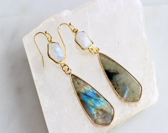 labradorite and linen Short earrings with labradorite and howlite Christmas gift for her Natural earrings with minerals